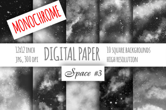 Print on Demand: Monochrome Watercolor Galaxy Digital Paper Graphic Patterns By bunart