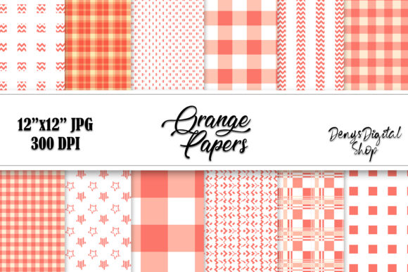 Orange Papers, Digital Stripes Papers Graphic Crafts By denysdigitalshop