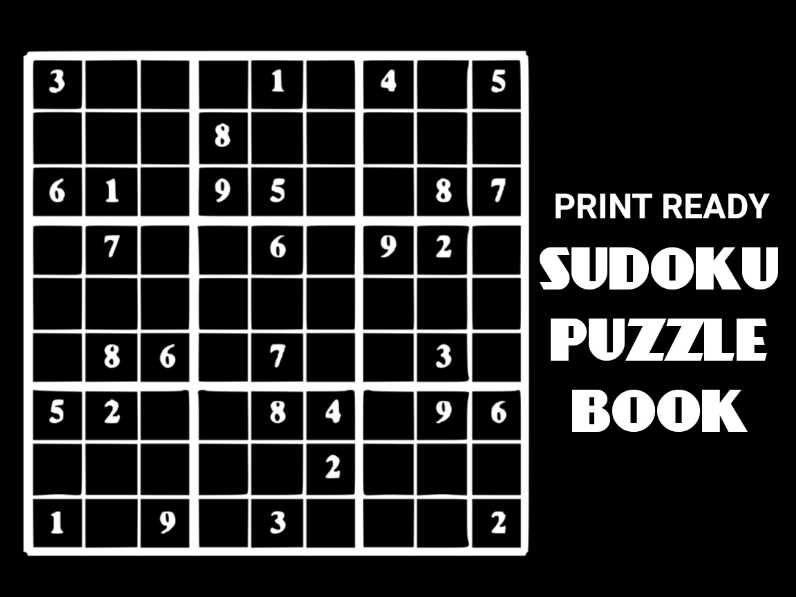 Download Free Print Ready Sudoku Puzzle Book Vol 98 Graphic By Ermannofficial for Cricut Explore, Silhouette and other cutting machines.