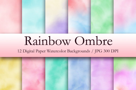 Rainbow Ombre Watercolor Digital Papers Graphic Backgrounds By PinkPearly