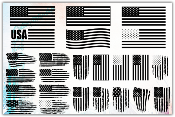 Print on Demand: Special Bundle American Flag Graphic Crafts By ezzyDesigns - Image 1
