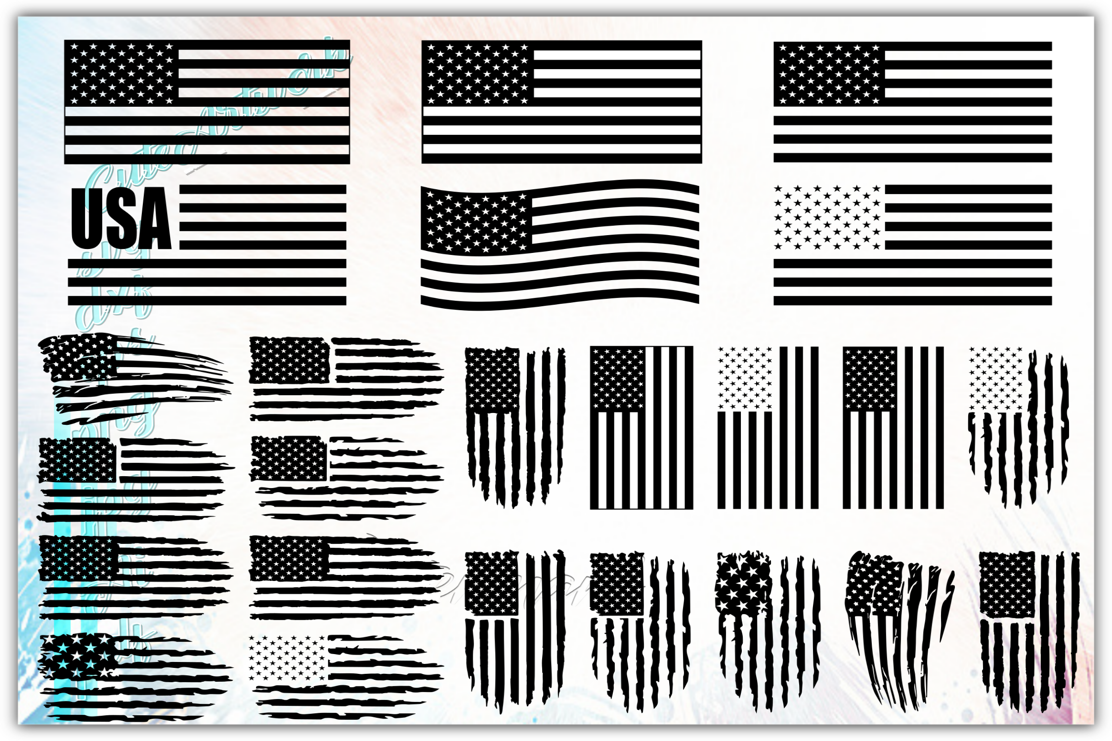 Download Free Special Bundle American Flag Graphic By Cuteartworkdesigns for Cricut Explore, Silhouette and other cutting machines.
