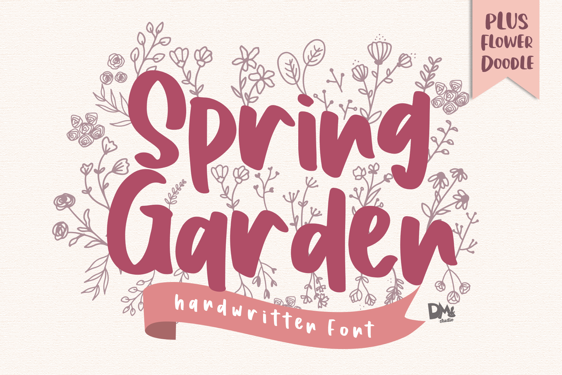 Download Free Spring Garden Font By Dmletter31 Creative Fabrica for Cricut Explore, Silhouette and other cutting machines.