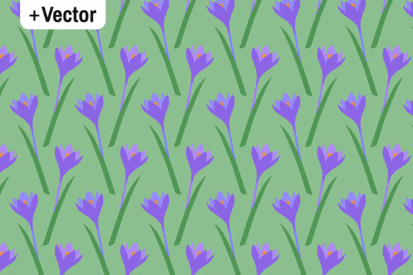 Download Free Spring Purple Crocuses Flowers Pattern Graphic By Dana Du Design for Cricut Explore, Silhouette and other cutting machines.