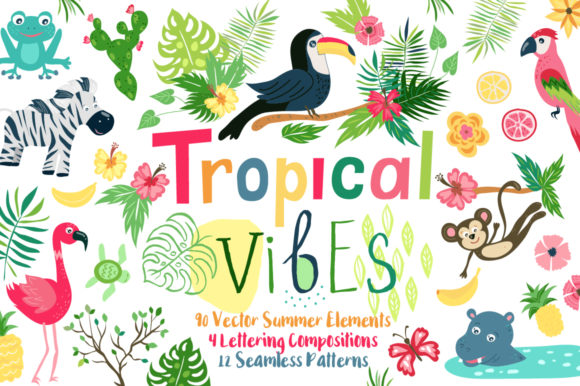 Summer Tropical Cute Vector Pack Graphic Illustrations By Larysa Zabrotskaya
