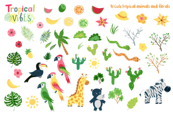 Summer Tropical Cute Vector Pack Graphic Illustrations By Larysa Zabrotskaya - Image 2
