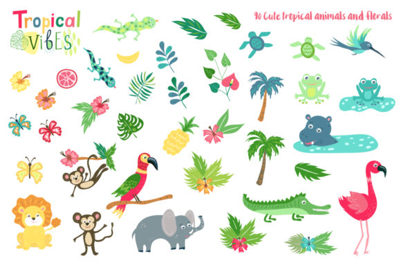 Summer Tropical Cute Vector Pack Graphic Illustrations By Larysa Zabrotskaya - Image 3