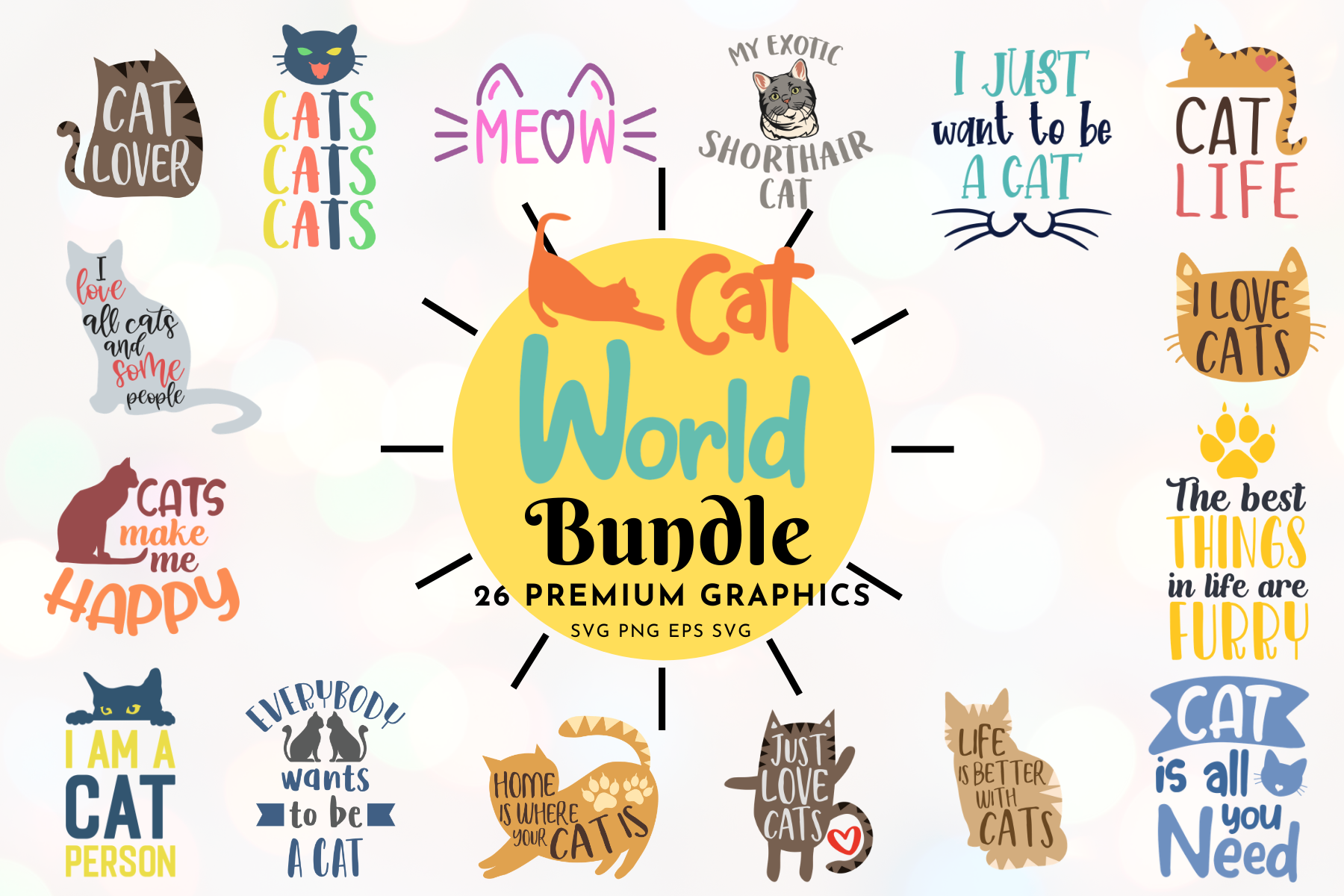 Download Free The Cat World Bundle Graphic By Graphipedia Creative Fabrica for Cricut Explore, Silhouette and other cutting machines.