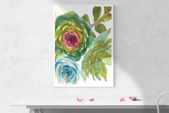 Download Free Turquoise Watercolor Succulents Set Graphic By Patishop Art for Cricut Explore, Silhouette and other cutting machines.