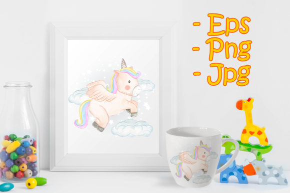 Print on Demand: Unicorns Fly over Clouds in Watercolor Graphic Illustrations By OrchidArt
