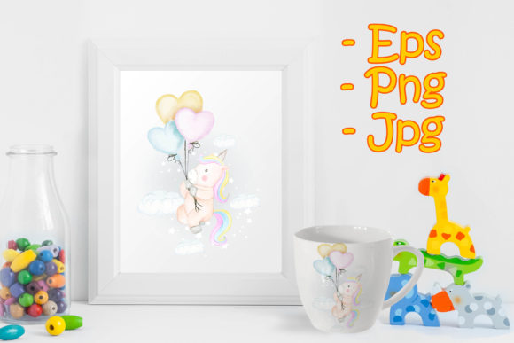 Print on Demand: Unicorns Fly with Heart Balloon Graphic Illustrations By OrchidArt
