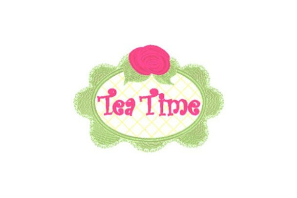 Tea Time Bunnie Rose Frame Tea & Coffee Embroidery Design By Sue O'Very Designs