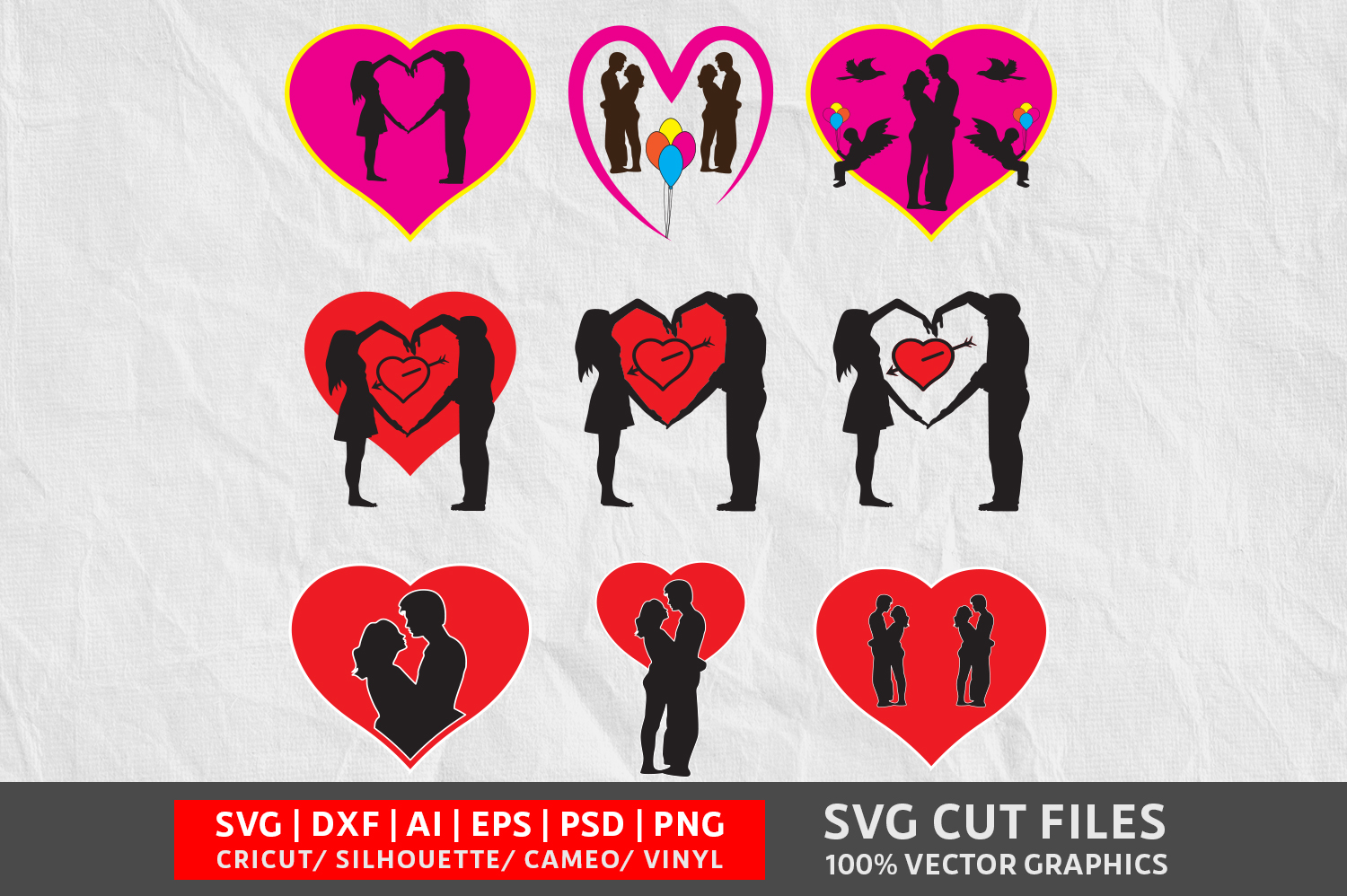 Download Free Valentines Couple Image Graphic By Design Palace Creative Fabrica for Cricut Explore, Silhouette and other cutting machines.