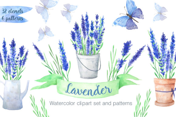 Watercolor Blue Lavender Flowers Graphic Illustrations By Larysa Zabrotskaya