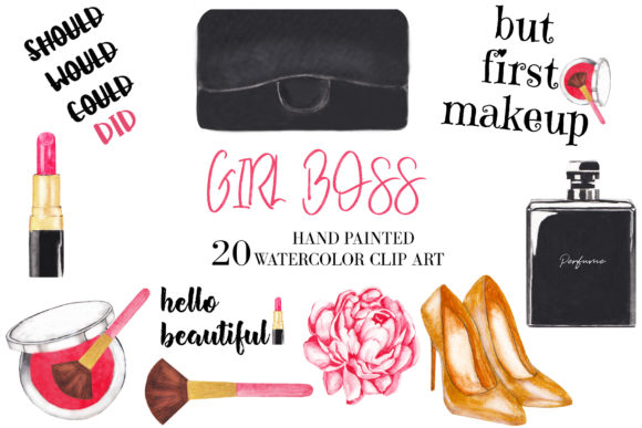Watercolor Fashion, Cosmetic Clipart Graphic Illustrations By BonaDesigns
