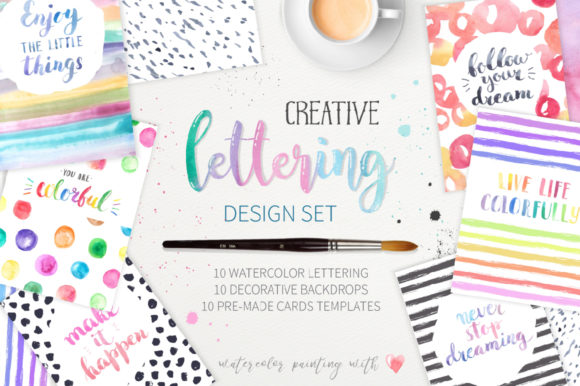 Watercolor Lettering Creative Set Grafik Illustrationen von Larysa Zabrotskaya