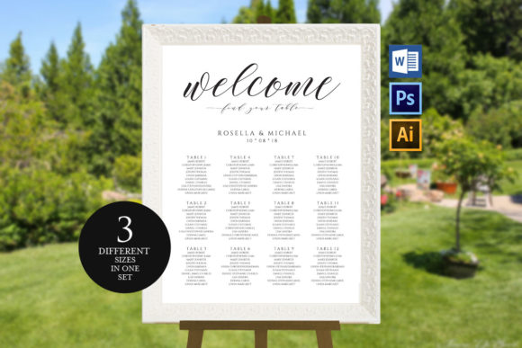 Download Free Wedding Seating Chart Template Graphic By Weddingprintables for Cricut Explore, Silhouette and other cutting machines.
