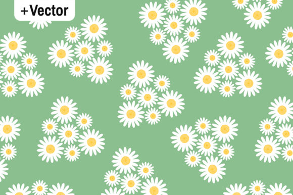 White Daisies Flowers Triangles Pattern Graphic By Dana Du