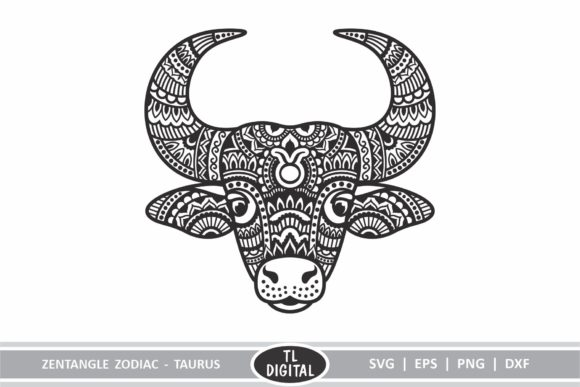 Download Free Zodiac Zentangle Taurus Bull Graphic By Tl Digital Creative Fabrica for Cricut Explore, Silhouette and other cutting machines.