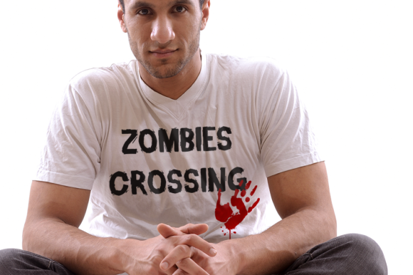Zombies Crossing Bloody Handprint Graphic Crafts By DesignedByGeeks