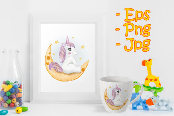 Print on Demand: Adorable Baby Unicorn Sitting in Moon Graphic Illustrations By OrchidArt