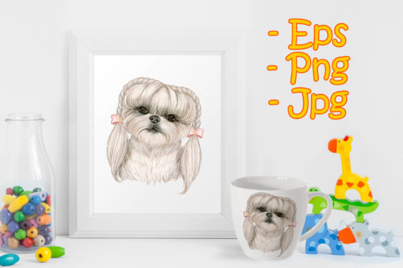 Print on Demand: Adorable Cute Dog with Hair on Braids Graphic Illustrations By OrchidArt