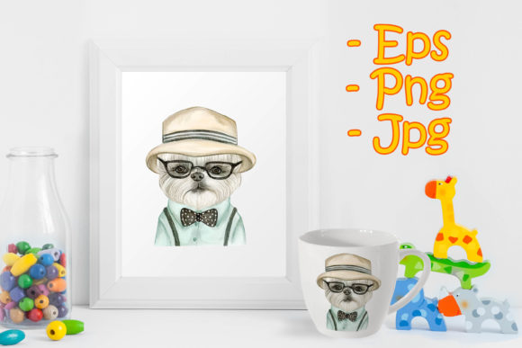 Print on Demand: Adorable Cute Dog with Hat and Glasses Graphic Illustrations By OrchidArt