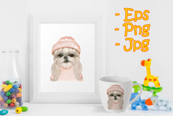 Print on Demand: Adorable Cute Dog with Hat Watercolor Graphic Illustrations By OrchidArt
