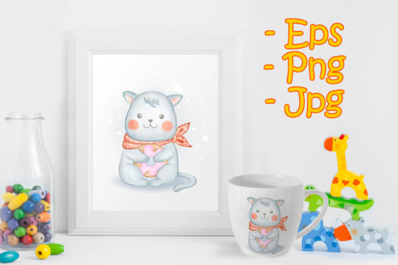 Print on Demand: Adorable Kitten Baby Carrying Donut Graphic Illustrations By OrchidArt