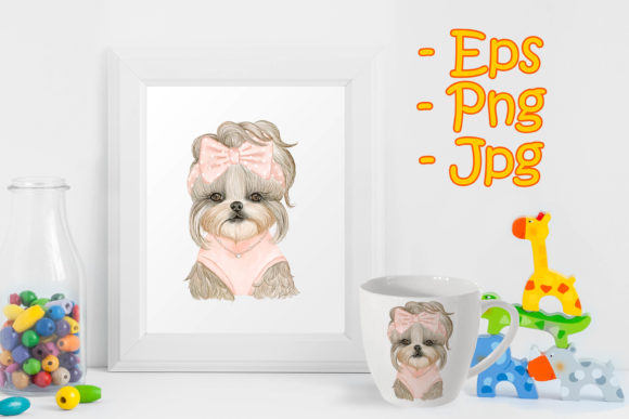 Print on Demand: Adorable Puppy Dog Cute with Ribbon Graphic Illustrations By OrchidArt
