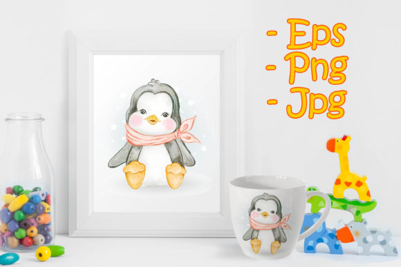 Print on Demand: Baby Penguin Adorable Watercolor Graphic Illustrations By OrchidArt