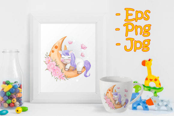 Print on Demand: Baby Unicorns Sleeping on the Moon Graphic Illustrations By OrchidArt