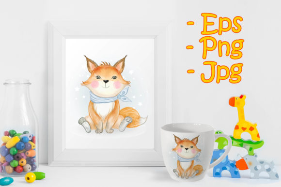 Print on Demand: Baby Fox Adorable Watercolor Graphic Illustrations By OrchidArt