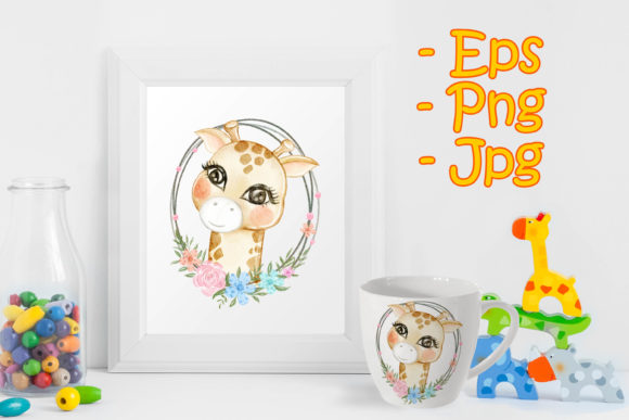 Print on Demand: Baby Giraffe Adorable with Floral Graphic Illustrations By OrchidArt