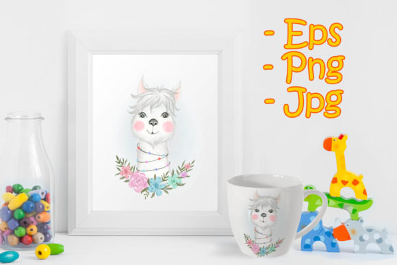 Print on Demand: Baby Llama Adorable with Floral Graphic Illustrations By OrchidArt