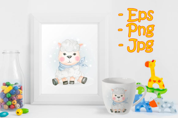 Print on Demand: Baby Sheep Adorable Watercolor Graphic Illustrations By OrchidArt