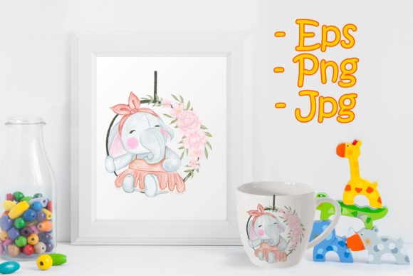 Print on Demand: Cute Elephant Sitting on a Flower Swing Graphic Illustrations By OrchidArt