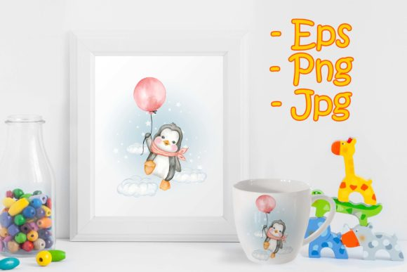 Print on Demand: Cute Penguin Flying with Air Balloons Graphic Illustrations By OrchidArt