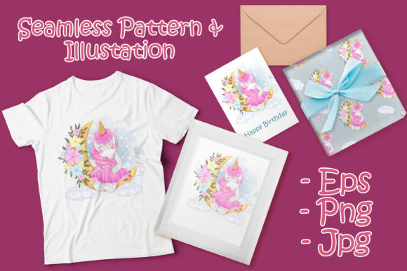 Print on Demand: Cute Unicorn with Moon and Flower Graphic Illustrations By OrchidArt