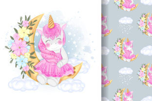 Print on Demand: Cute Unicorn with Moon and Flower Graphic Illustrations By OrchidArt 2