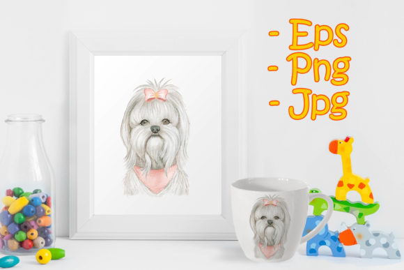 Print on Demand: Puppy Maltese Dog Cute with Ribbon Graphic Illustrations By OrchidArt
