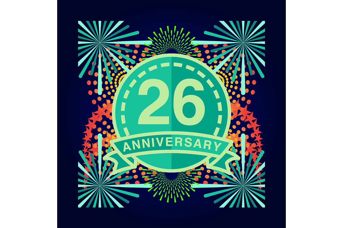 Download Free 26 Anniversary Poster Banner Vector Graphic By for Cricut Explore, Silhouette and other cutting machines.