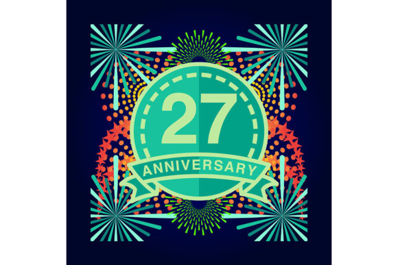 Download Free 27 Anniversary Poster Banner Vector Graphic By for Cricut Explore, Silhouette and other cutting machines.
