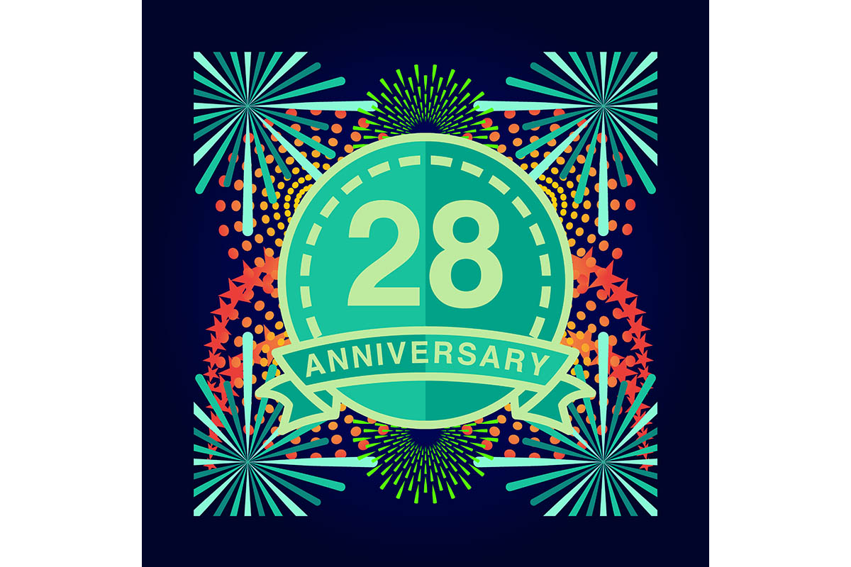 Download Free 28 Anniversary Poster Banner Vector Graphic By for Cricut Explore, Silhouette and other cutting machines.