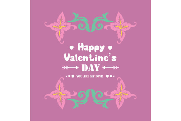 Beautiful Frame for Happy Valentine Card Graphic Backgrounds By stockfloral