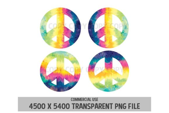 Print on Demand: Peace Symbol Tie Dye Sign Rainbow 4 Pack Graphic Logos By SunandMoon - Image 1