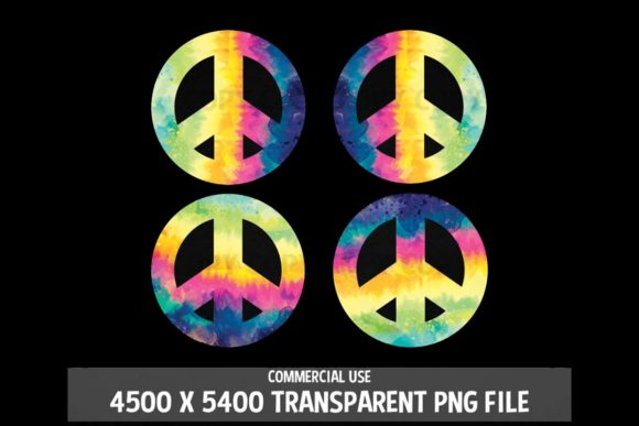 Print on Demand: Peace Symbol Tie Dye Sign Rainbow 4 Pack Graphic Logos By SunandMoon - Image 2