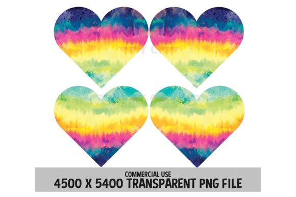 Print on Demand: Tie Dye Rainbow Hearts Clipart 4 Pack Graphic Logos By SunandMoon