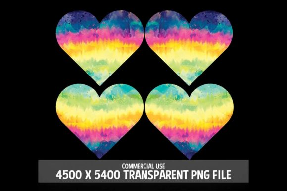 Print on Demand: Tie Dye Rainbow Hearts Clipart 4 Pack Graphic Logos By SunandMoon - Image 2