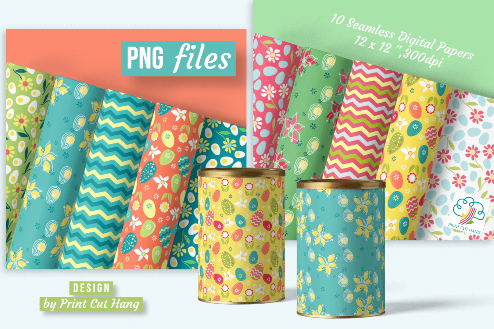 Download Free 10 Spring Easter Seamless Digital Papers Graphic By Print Cut for Cricut Explore, Silhouette and other cutting machines.